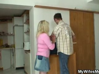 Blonde mother-in-law rides his huge dick <span class=duration>- 6 min</span>