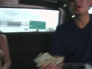 Pussy flashing amateur slut takes the sex bus