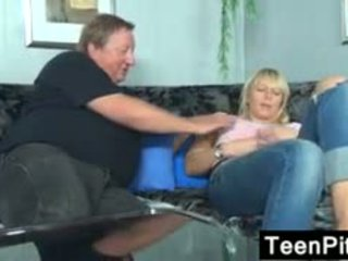 Blonde Teen With A Fat Old Guy