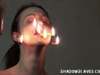Cruel burning এবং electro বিডিএসএম এর tortured slaves