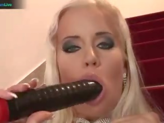 Alluring Blonde Cindy Dollar Anal Play on the Stairs