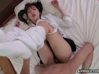 Skanky Asian schoolgirl getting her eager pussy pl