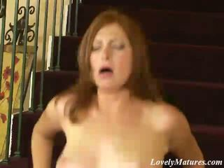 Sexy Mature Babe In High Heels Ginger Blaze Riding A Large Dick On The Stairs