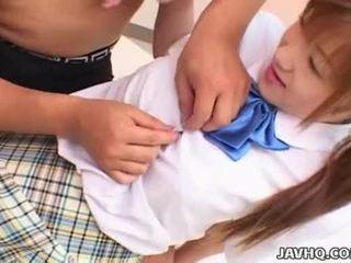 Japanes підліток в школа уніформа gets трахкав uncensored
