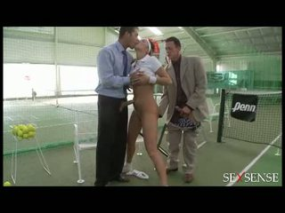 Tennis girl with big tits and short skirt in doubles final