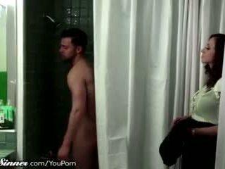 küssen, frau freundlich, dusche