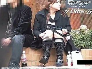 Stair terbuka lebar tungkai kaki di bawah celana dalam perempuan