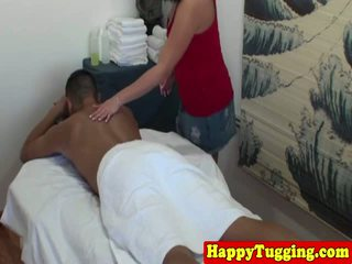 Chubby asian masseuse sucking