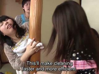 Subtitled japonská risky pohlaví s voluptuous matka v