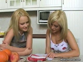 Horny Astonishing Blonde Lesbian Babes Kissing