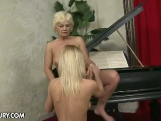 Old And Young Lesbian Love: Hairy lesbian granny for sweet blonde babe