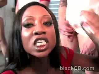 Busty black babe Diamond Jackson vs hung white gang