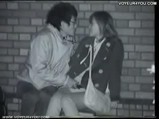 Écolière couples baise nuit dehors