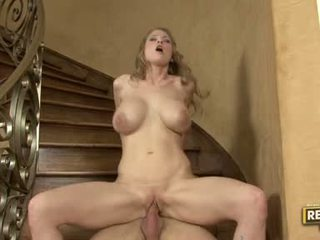 Sex Bombshell Abby Rode Slamming Her Constricted Bald Pussy On A Rock Hard Beaver