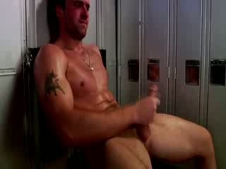 Handsome muscular jock masturbare