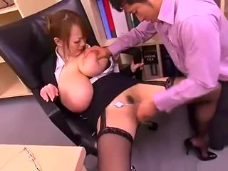 Bad office lady with big tits Hitomi T...
