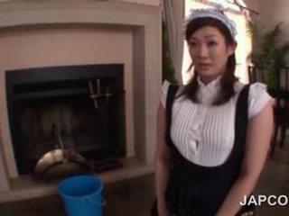 Sexy jovem grávida asiática empregada getting dela rabo oleada para cima em câmara