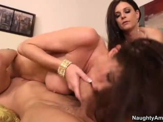 hardcore sex, šviežias blowjob jūs, threesome