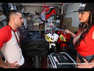 Angelina castro takes cumload di bike garage!