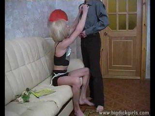 Randy guy drills blondinke crossdresser