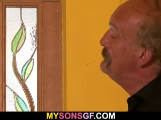 Old dirty father fucks his son's hot g...