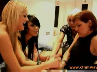 Mothers and daughters jerking a cock