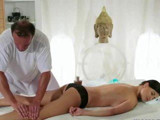 Busty brunette gets breasts massage