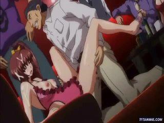 Big tits hentai girl banged on the cou...