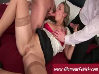 Hungry pussy being double penetrated