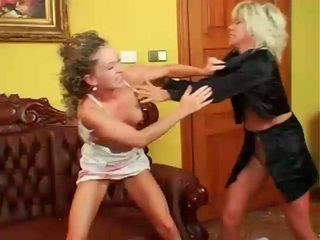 lesbička, lesbické boj, muffdiving