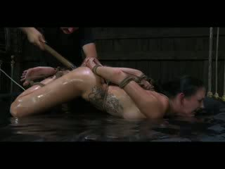 BDSM Male dom Perverts Slave Hailey model Oiled and Fisted in Bondage