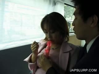 Japanese Cute gets body toyed in car