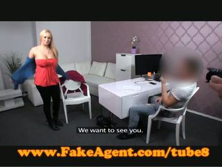 FakeAgent Busty blonde gets sprayed with spunk in casting
