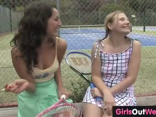 Hot female tennis couch licked by her ...