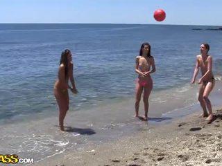 Коледж секс вечірка під the сонце heat з the пляж