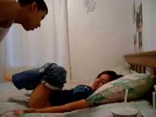 Sister recording her brother trying to make him cum
