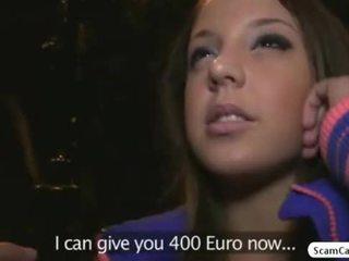 Barna hottie anita gains készpénz és gets szar által egy fake agent