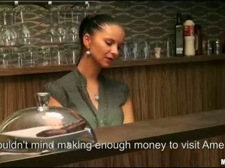 Teen barmaid close bar to anal ride dick