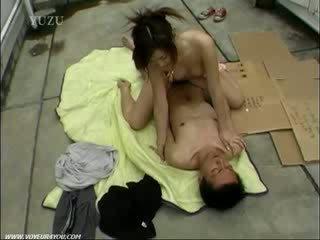Public roof top orgy sex