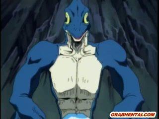 Bondage hentaï filles groupfucked par monstre lizards