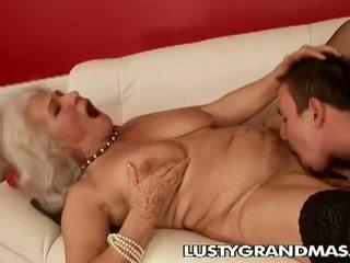 bestemor, rimjob, hårete fitte