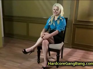 Blonde babe gangbanged and face cummed
