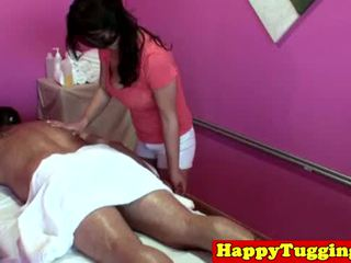 Big titted asia tugging masseuse
