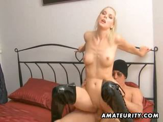 Blonde amateur girlfriend sucks and fucks with cum