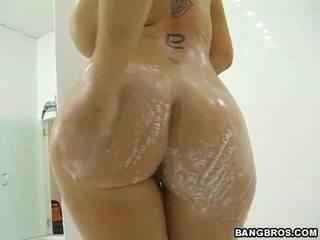 hardcore sex, големи цици, душ